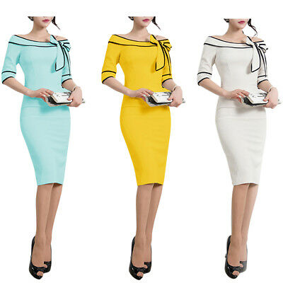 Women Vintage Dress 1950s Retro Rockabilly Bowknot Slim Bodycon Pencil Dresses