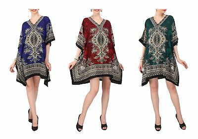 Women Kaftan Tunic Kimono Free Size Dress for Loungewear Beach Nightwear