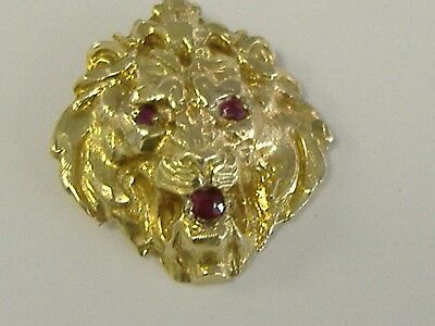 Vintage  Solid 14K  Lion Head Charm With Rubies