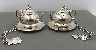 Silver Tea Infusers - 2 Matching - .900 Fine Silver - Infusers & Trays