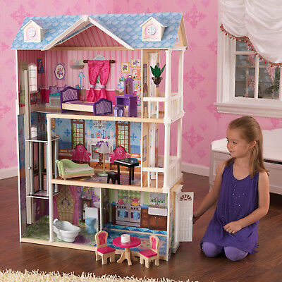 Kidkraft 4 FT Dollhouse 3 Level House with 14 Accessories Best Gift for Girls