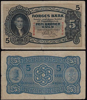 Norwegen - Norway 5 Kroner 1941 Pick 7c VG (5)    (21604