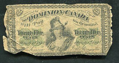 "1870 25 Twenty Five Cents Dominion Of Canada ""Shinplaster"" Currency Note"
