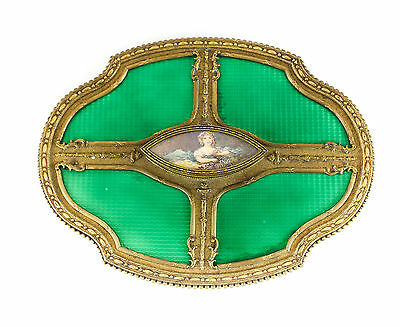 Continental Hand Painted Gilt Bronze and Green Enamel hand Mirror, c1900