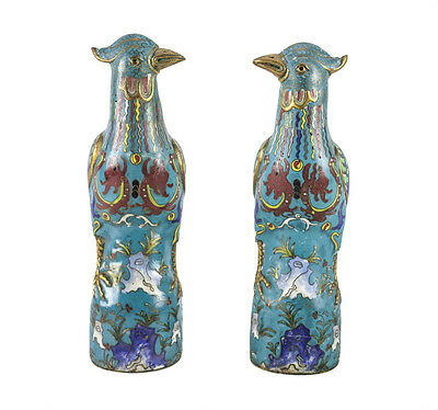 Pair of Chinese Hand Painted Cloisonne Bird Figurines, Early 20th Century