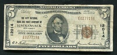 1929 $5 The City Nb & Trust Co. Of Hackensack, Nj National Currency Ch. #12014