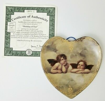 "Bradford Exchange Angel Heart Plate, 1995 Limited Edition ""Thinking of You"""