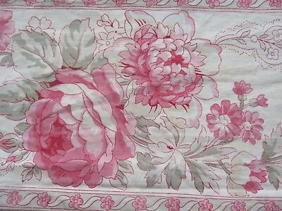 "Antique 1880 French Victorian Pink Border Roses Print Cotton Fabric~L-49""XW-8.5"""