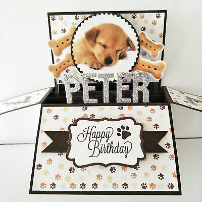 Handmade birthday card Name Age Personalised dog birthday card dog puppy card