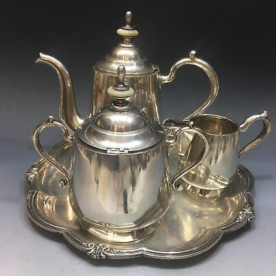 Antique Imperial Russian 84 Silver Tea Set Service Tsar