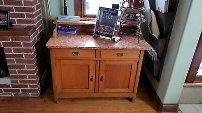 """Antique Austrian-Hungarian Sideboard/Cabinet w/ Marble top - 42.5"""" wide"""