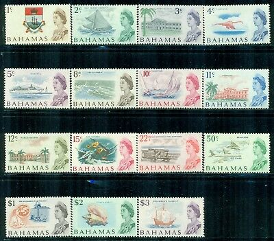 BAHAMAS 252-66 SG295-309 MH 1967 QEII Defin set of 15 Cat$32
