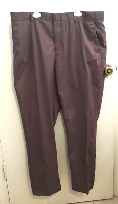 Marc Ecko New York Mens Brown Cotton Flat Front Dress Pants Size 38X30
