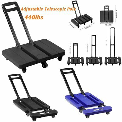 Folding 440LB Hand Truck Dolly Collapsible Cart Luggage Trolley With 6 Wheels HM