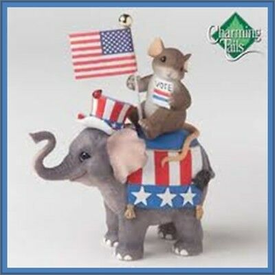 Fitz & FLoyd Charming Tails DON'T FORGET TO VOTE Elephant Republican NEW 89/1854