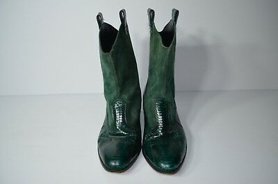 1410f99277c Mens Green Reptile Ankle Boots Size 10 Mid Calf Low Heel Suede Emerald