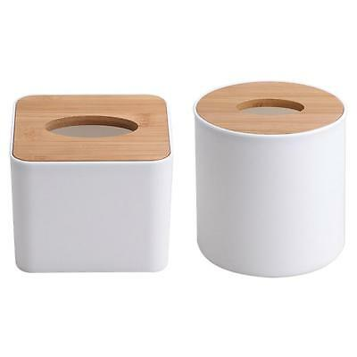 Removable Bamboo Wood Cover Plastic Tissue Box  Holder Storage Home Organizer