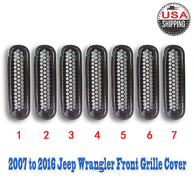 7 Pcs Front Grille Cover Insert Grill Shell Trim Fits 2007-2016 Jeep Wrangler