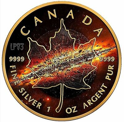 With 24K  GOLD GILDED 2017 1 Oz Silver MAPLE LEAF WATERFALL Coin IN CAPSULE.