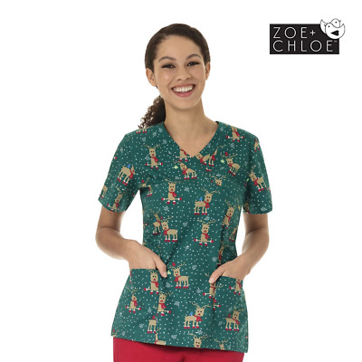 Christmas Print Scrubs - Womens Printed Top -Holly Jolly Xmas Nurse Scrub Design
