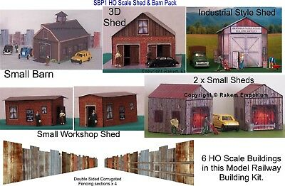 HO Scale Barn & Sheds x 6 Buildings + Fencing - Model Railway Building Kit SBP1