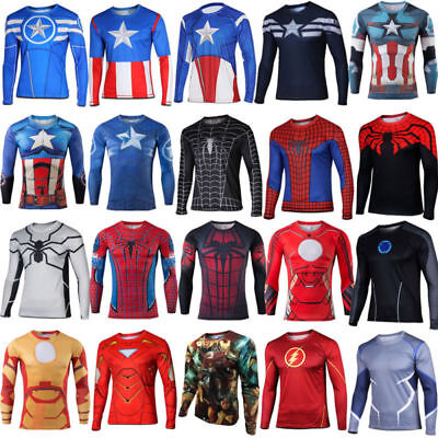 Superhero Marvel Compression Tee T-Shirts Long Sleeve Cycling Sport Jersey Hulk