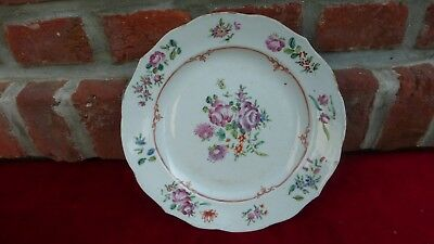 Antique chinese export porcelain plate.Flowers. XVIIIth C. Assiette Chine