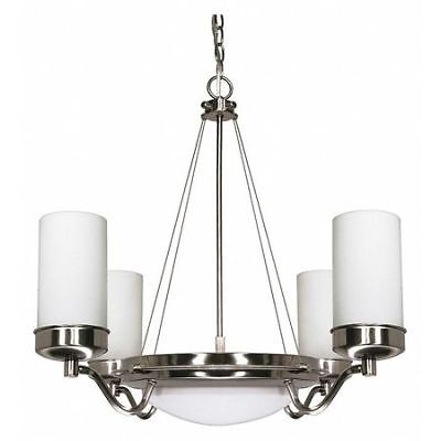 Polaris 6 Light 29 in. Chandelier Satin Frosted Glass Shades NUVO 60-607
