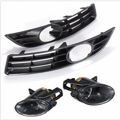 Front Bumper Fog Lights Lamp Grilles Grill Kit For VW Passat 3C B6 2006-2009 12V