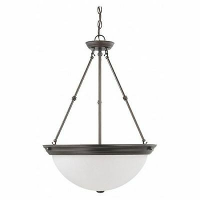 3 Light 20 in. Pendant Frosted White Glass Bronze NUVO 60-3153