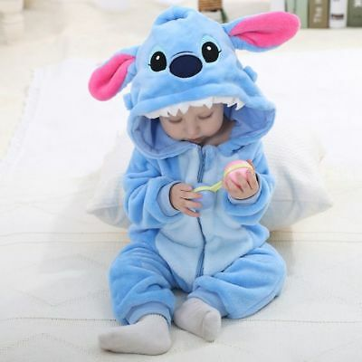 UK Kids Baby Boys Cartoon Winter Warm Hooded Romper Jumpsuit Outfits Playsuit