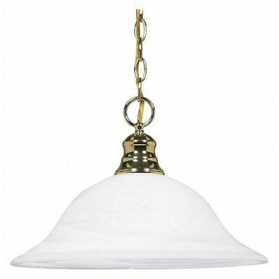 1 Light 16 in. Pendant Alabaster Glass Polished Brass NUVO 60-392