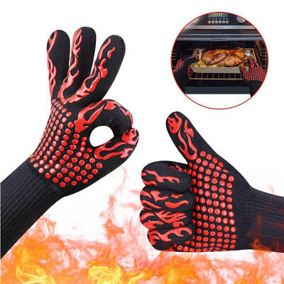 1 Pair of Gloves Heat Resistant Gloves Kitchen BBQ Oven Cooking Mitts Heat Proof