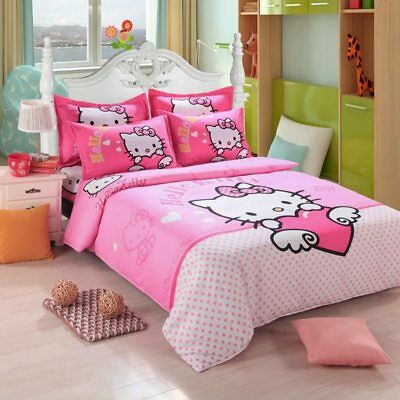Kids Girls Hello Kitty Bedding Set Cotton Sheet Duvet Quilt Cover Pillowcases