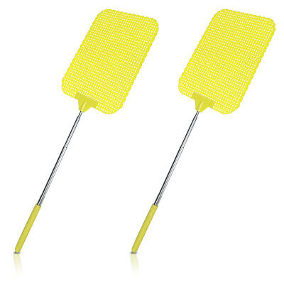 2x Extendable Fly Swatter Durable Telescopic Mosquito Bug Insect Killer - Yellow