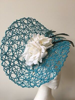 NEW Blue basketweave fascinator with white floweres and blue feathers!