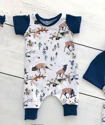 AU Christmas Newborn Baby Boys Girls Deer Tops Romper Jumpsuit Outfits Clothes