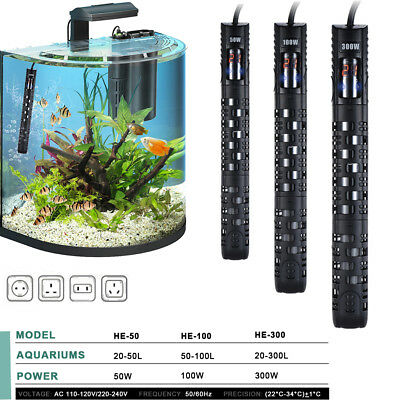 Aquarium Submersible Fish Tank LED Digital Adjustable Water Heater Rod 50-300W