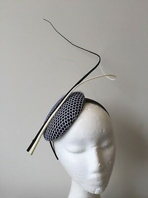 NEW black and white fascinator with barb quills on a headband! Made to order!