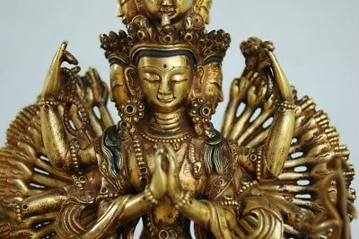 Antique Gilt Bronze Sculpture - Tibet Avalokiteshvara Statue - Tibetan Cenresig