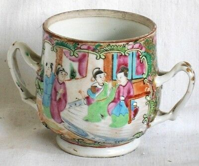 C19Th Chinese Canton Famille Rose Twin Handled Mug With People Flowers & Insects