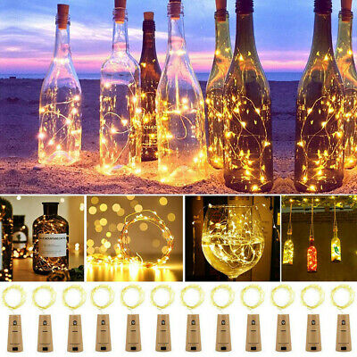 1M 2M 10/20LED Copper Wire Wine Bottle Cork Battery Operated Fairy String Lights