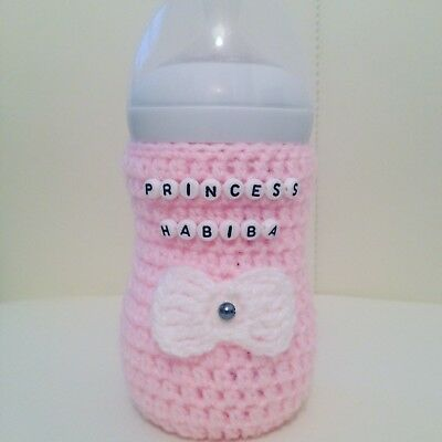 crochet 3D BOW PERSONALI baby bottle cover tommee tippee avent dr brown MAM Nuk