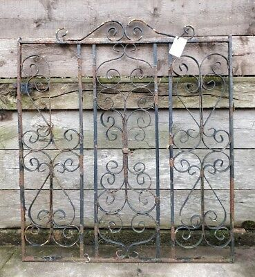 Reclaimed Pedestrian Wrought Iron Gate Scroll Detail Distressed Black Paint #G20