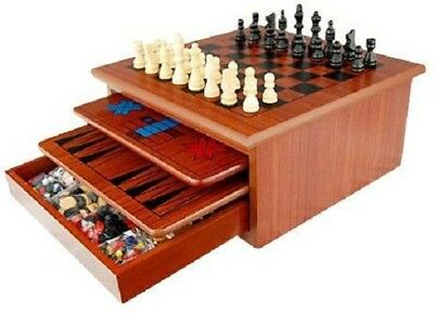 10-IN-1 WOODEN CHESS BOARD SET Slide Out Checkers House, Solitaire Backgammon