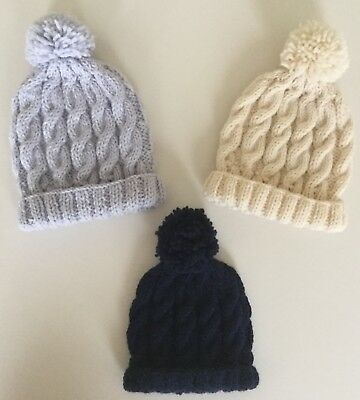 Hand Knitted Soft & Cosy Cable Hats For Young Babies - 0-3 Months & 3-6 Months