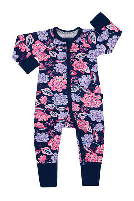 Bonds Baby Long Sleeve Zip Wondersuit Romper size 000  0 1 2 3 Midnight Floral