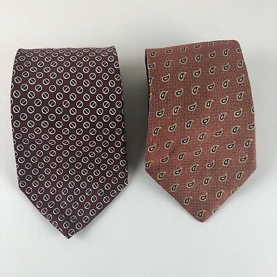 Lot of 2 Tommy Hilfiger Men's Neck Ties Silk Geometric Paisley Print Made In USA