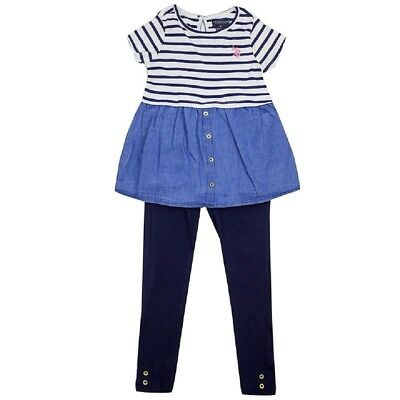 Girls Blue US Polo Stripe Shortsleeve Top Dress & Leggings 2pc Set. Ages:2-7yrs
