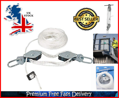 Cable Pulley Lifter Powerful Nylon Rope Steel 180kg Capacity 3m Lifting Height